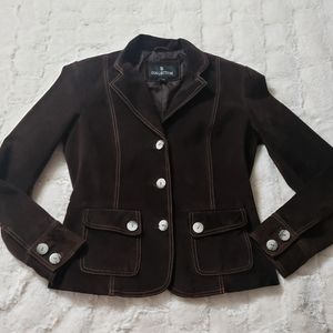 Brown Leather (suede feel) Blazer.